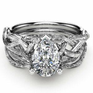 Diamond Engagement Ring Pear Cut Diamond Ring 14K White Gold Ring Set Twig Wedding Rings