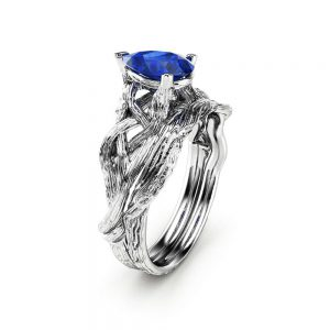 Sapphire Engagement Ring Set Pear Cut Twig Ring 14K White Gold Sapphire Ring September Birthstone