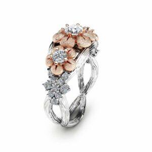 Three Stone Diamond Engagement Ring 14K Two Tone Gold Branch Ring Floral Diamond Engagement Ring