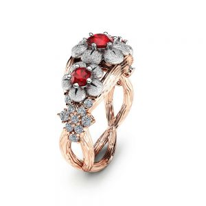 Three Stone Ruby Engagement Ring 14K Two Tone Gold Branch Ring Floral Ruby Engagement Ring