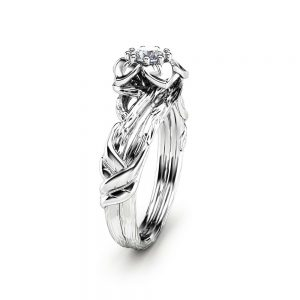 Natural Diamond Flower Engagement Ring in 14K White Gold Inspired by Nature Branch Ring Unique Band Engagement Ring