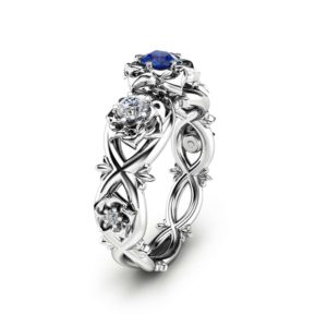 Blue Natural Sapphire Engagement Ring Unique Three Stone Ring in 14K White Gold Flower Design Ring Nature Inspired Ring