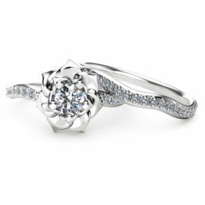14K White Gold Diamond Engagement Ring Set Natural Diamond Wedding Set Flower Styled Bridal Set Unique Engagement Rings