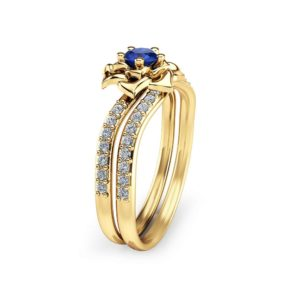Natural Blue Sapphire Engagement Ring Set 14K Yellow Gold Wedding Set Flower Styled Sapphire Bridal Set Unique Engagement Rings