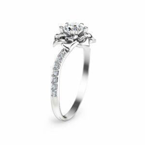 14K White Gold Diamond Ring Flower Engagement Ring Unique Diamond Ring