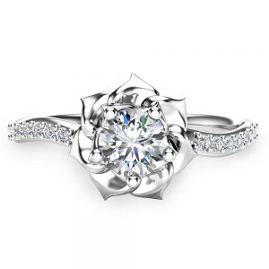 14K White Gold Diamond Ring Flower Engagement Ring Unique Diamond Ring