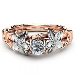 Diamond Engagement Ring Unique 14K Two Tone Gold Branch Ring Leaf and Flower Design Engagement Ring with Natural Diamonds