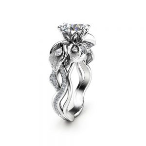 Moissanite Engagement Ring Calla Lily Engagement Ring Forever Brilliant Moissanite Ring Unique 14K White Gold Promise Ring