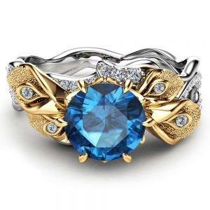 14K Two Tone Gold Topaz Ring Calla Lily Engagement Ring London Blue Topaz Engagement Ring Unique Flower Gemstone Anniversary Ring