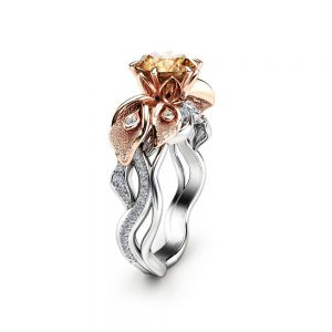 Cala Lily Design Brown Diamond Ring 14K Two Tone Gold Engagement Ring 1 Carat Brown Diamond Ring Unique Flower Engagement Ring