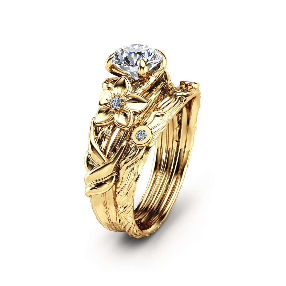 Unique Moissanite Engagement Ring Set Branch 14K Yellow Gold Bridal Set Forever Classic Moissanite Engagement Rings
