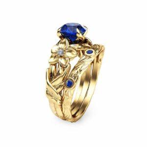 Blue Sapphire Engagement Ring Set 14K Yellow Gold Rings Unique Sapphire Engagement Branch Ring Set