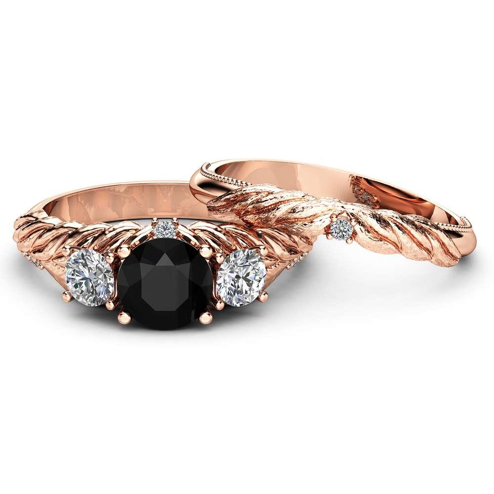 Black Diamond Engagement Ring Set 14K Rose Gold Leaf Engagement Rings Three Diamond Stone Ring with Matching Band