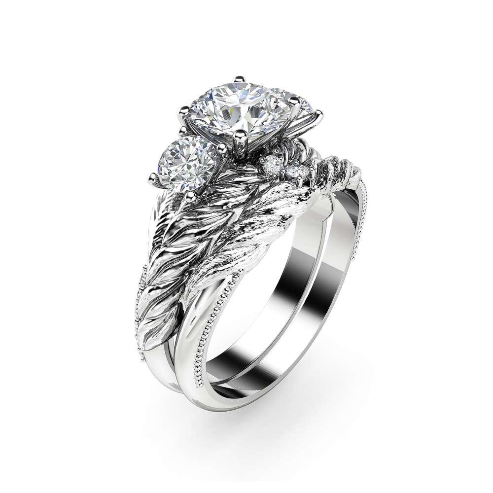 Moissanite Leaf Engagement Ring Set 14K White Gold Three Stone Ring Leaf Engagement Ring with Matching Diamond Band