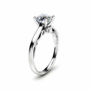 1CT Natural Diamond Engagement Ring 14K White Gold Diamond Ring Classic Engagement Ring