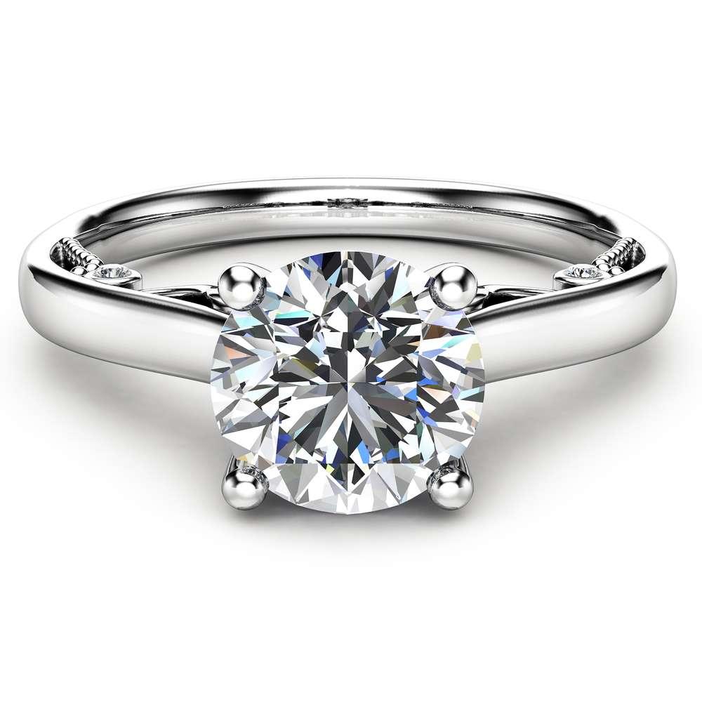 Round Cut Moissanite Engagement Ring Unique 14K White Gold Ring 1 Carat Moissanite Engagement Ring Custom Ring