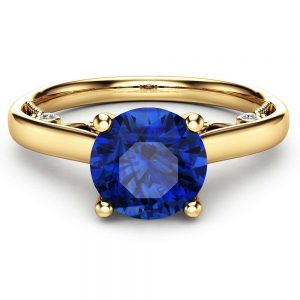 Round Cut Natural Sapphire Engagement Ring Unique 14K Yellow Gold Ring 1 Carat Sapphire Engagement Ring Custom Ring