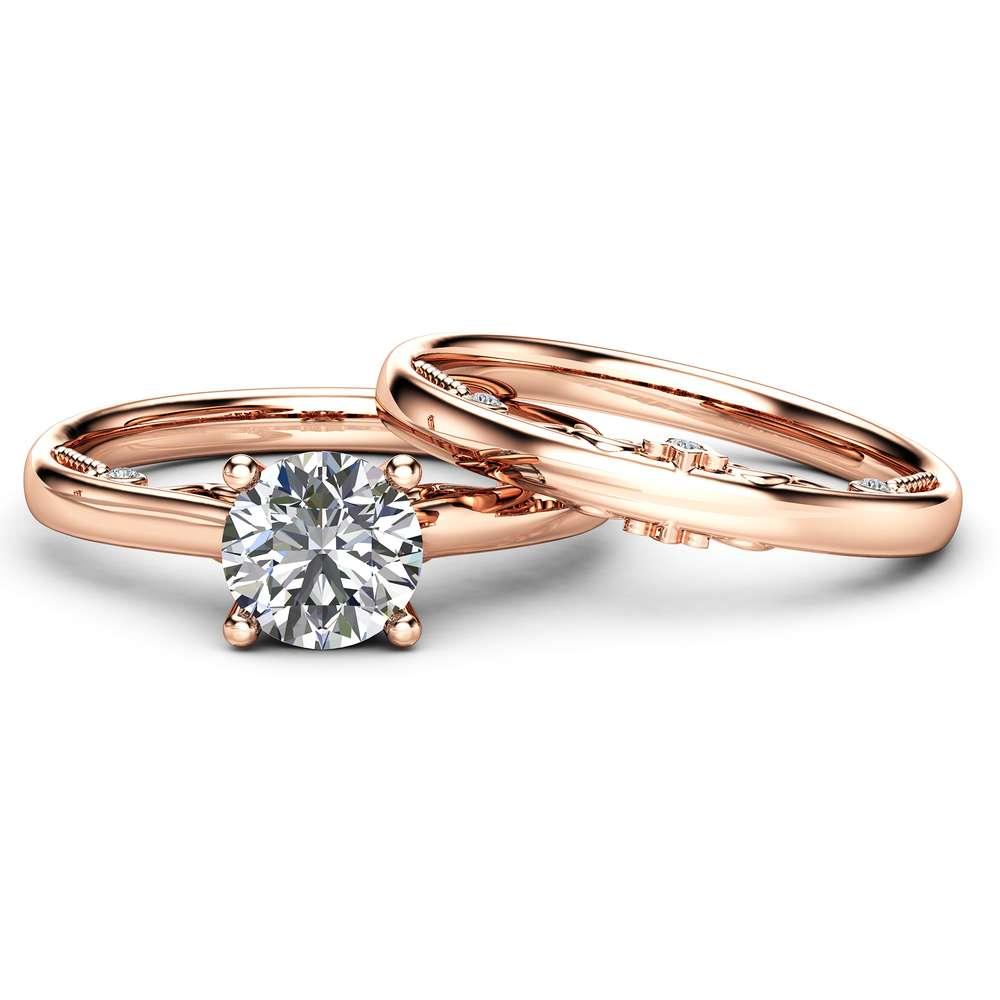 Rose Gold Moissanite Engagement Ring Set Unique 1 Carat Moissanite Ring with Matching Band Delicate Design 14K Rose Gold Bridal Set