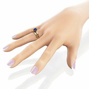 Unique Blue Sapphire Engagement Ring Set 14K Yellow Gold Sapphire Engagement Rings Unique Delicate Design Bridal Set