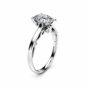 Pear Cut Diamond Engagement Ring 14K White Gold Ring Natural 1ct Clarity Enhanced Diamond Ring