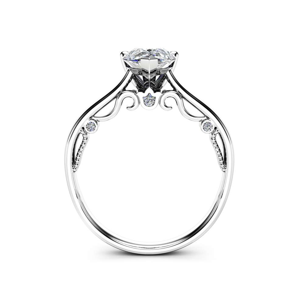 Pear Cut Diamond Engagement Ring 14K White Gold Ring Natural 1ct Clarity Enhanced Diamond Ring