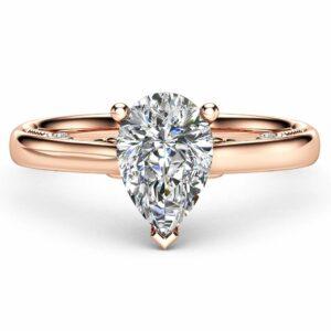 Pear Cut Natural Diamond Engagement Ring 14K Rose Gold Engagement Ring Clarity Enhanced Diamond Ring