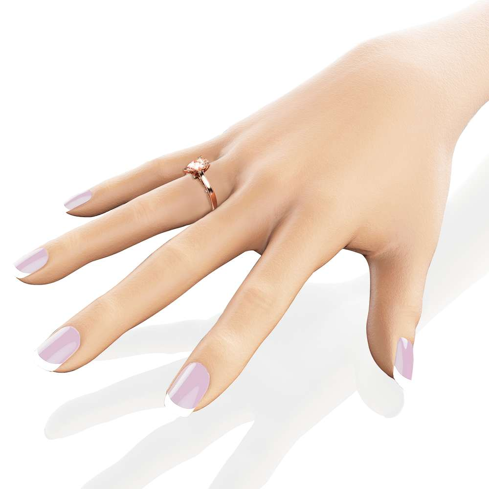Pear Cut Morganite Engagement Ring 14K Rose Gold Ring Unique Natural Morganite Engagement Ring