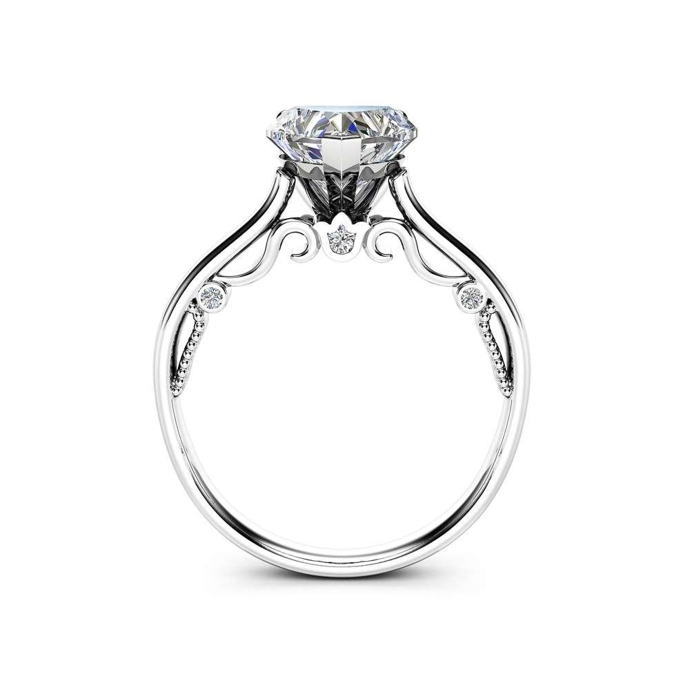 Heart Cut Moissanite Engagement Ring Unique 14K White Gold Ring Heart Moissanite Engagement Ring