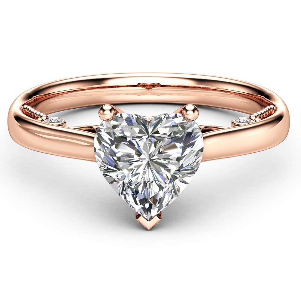 Heart Cut Moissanite Engagement Ring Unique 14K Rose Gold Ring Moissanite Engagement Ring Heart Moissanite Ring