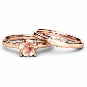 Peach Pink Morganite Bridal Set 14K Rose Gold Morganite Engagement Rings Delicate Style Bridal Ring Set