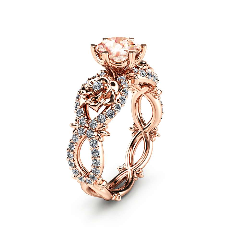 Peach Pink Morganite Engagement Ring in 14K Rose Gold Unique Flower Ring Nature Inspired Morgainte Ring Rose Gold Engagement Ring