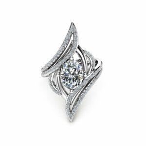 Oval Moissanite Cocktail Ring 14K White Gold Right Hand Ring Forever Classic Moissanite Cocktail Ring Unique Vintage Ring