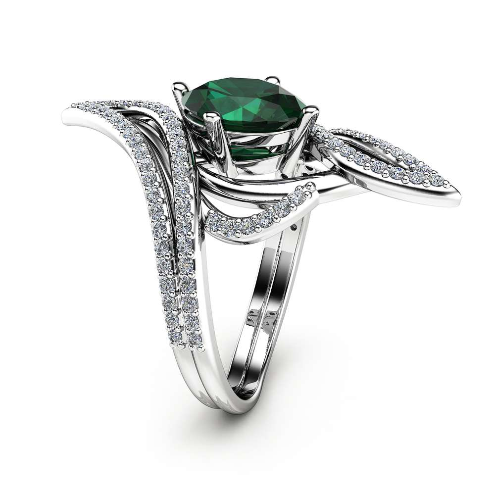 Oval Emerald Cocktail Ring 14K White Gold Ring Oval Emeral Cocktail Ring Unique Vintage Ring