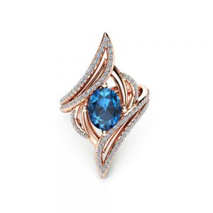 Oval Topaz Cocktail Ring 14K Rose Gold Right Hand Ring London Blue Topaz Cocktail Ring Unique Vintage Ring