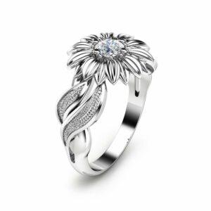 Natural Diamond Sunflower Engagement Ring 14K White Gold Sunflower Ring Solitaire Diamond Ring Unique Engagement Ring