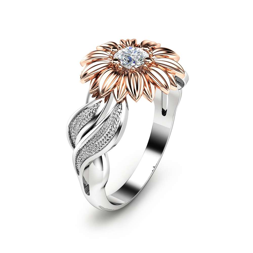 Natural Diamond Sunflower Engagement Ring 14K Two Tone Gold Flower Ring Unique Solitaire Ring Nature Inspired Ring