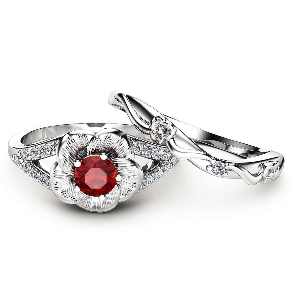 Ruby Engagement Ring Set Unique Flower Rings 14K White Gold Ruby Ring Unique Engagement Rings