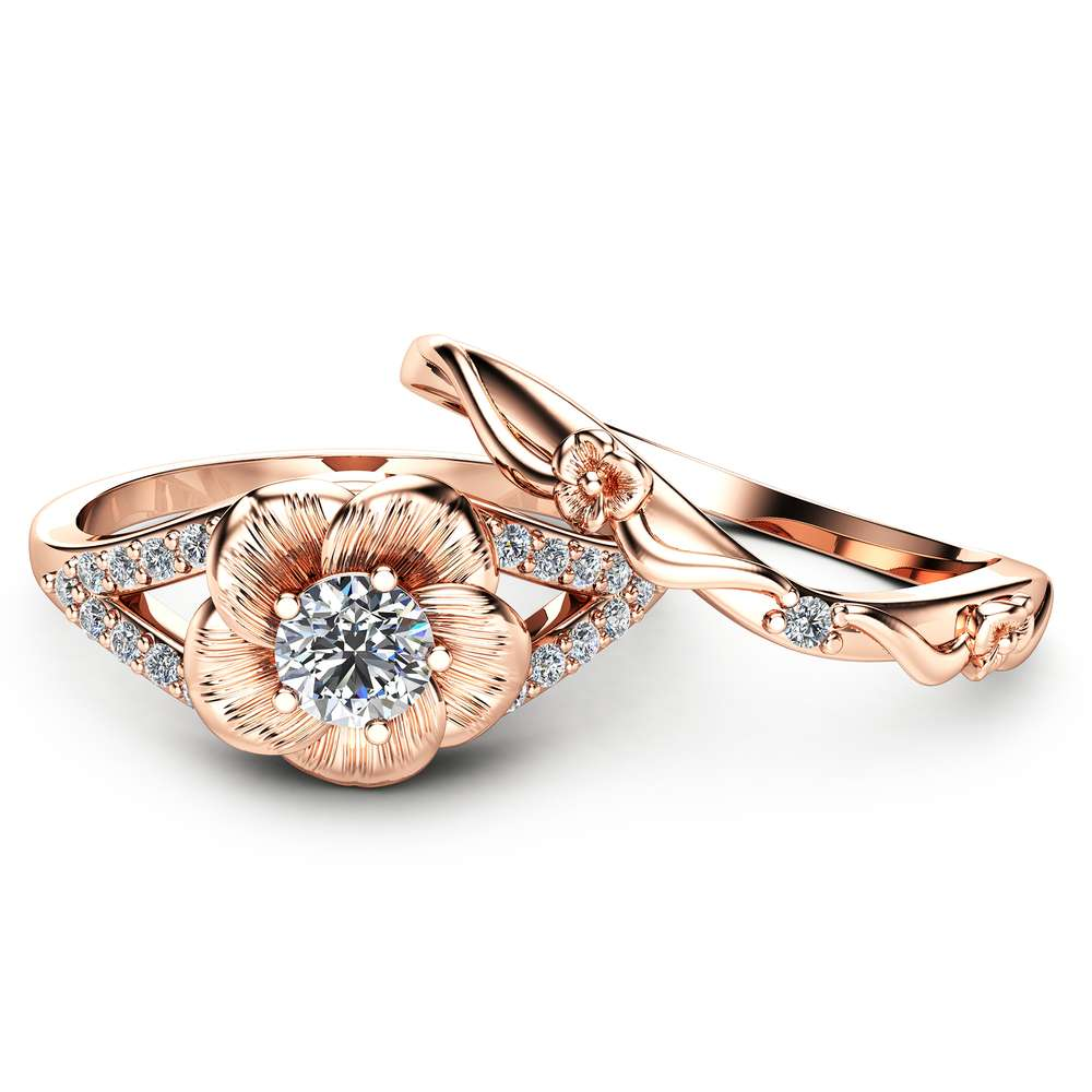 14K Rose Gold Engagement Ring Set Natural Diamond Rings Flower Rose Gold Rings Unique Engagement Rings