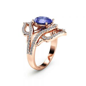 Oval Cut Tanzanite Cocktail Ring Unique 14K Rose Gold Ring Tanzanite Fashion Ring Oval Cocktail Ring Vintage Ring
