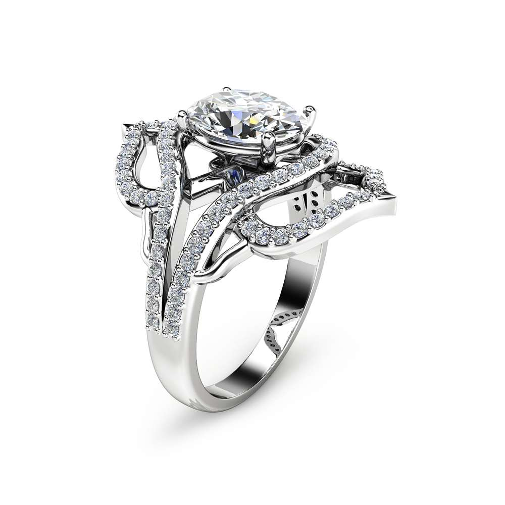 Unique Vintage Cocktail Ring Oval Moissanite Fashion Ring 14K White Gold Vintage Ring Diamond Cocktail Ring