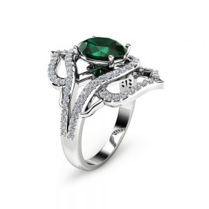 Oval Emerald Cocktail Ring 14K White Gold Right Hand Ring Oval Emeral Cocktail Ring Unique Vintage Ring
