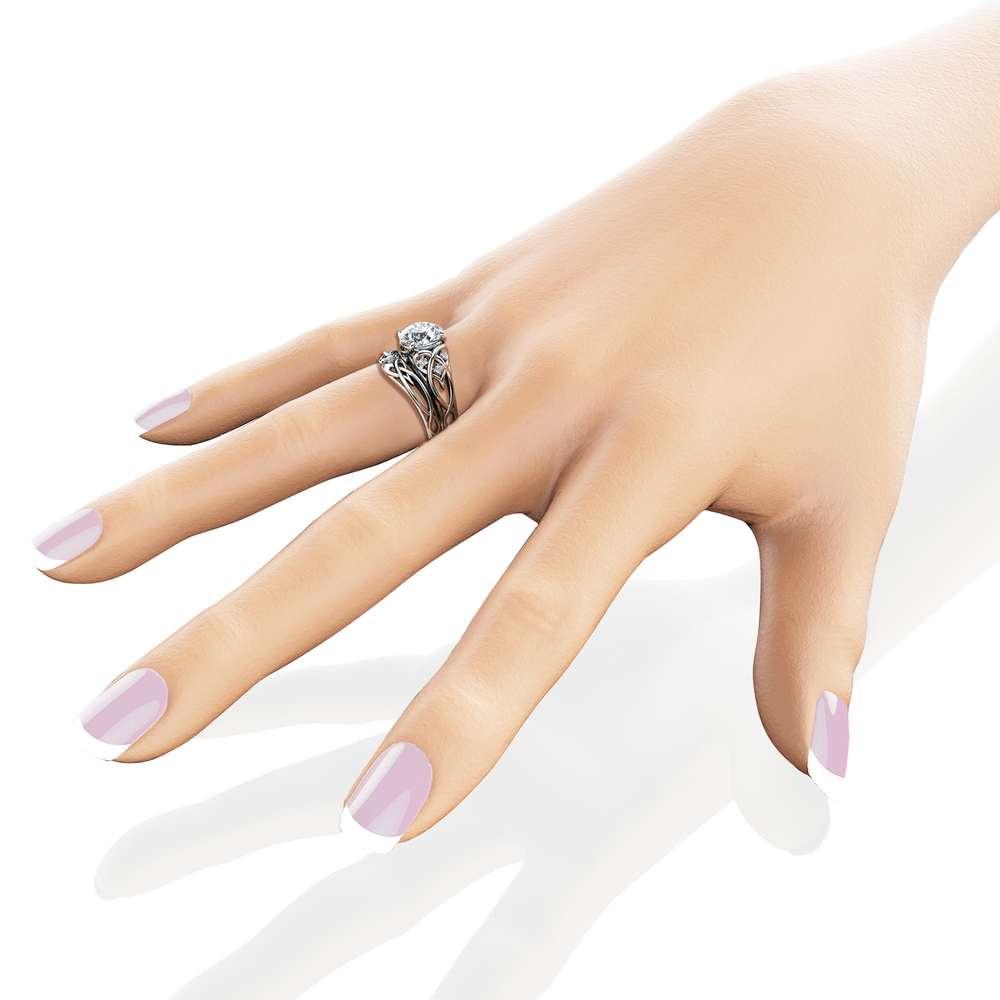 14K White Gold Unique Engagement Rings 2 Carat Moissanite Ring Set Unique Design Engagement Ring Set