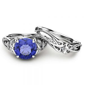 Natural Tanzanite Unique Engagement Rings 14K White Gold Ring Set Unique Design Engagement Ring Set