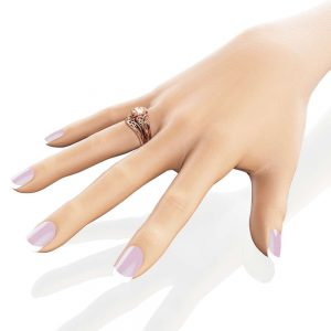 2 Carat Morganite Engagement Rings 14K Rose Gold Ring Set Unique Engagement Rings Rose Gold Morganite Rings