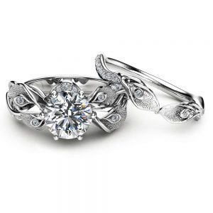 Diamond Wedding Ring Set 14K White Gold Engagement Ring Calla Lily Flower Bridal Set Rings