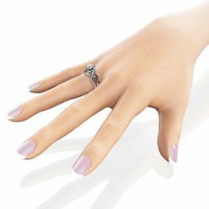 Diamond Wedding Ring Set 14K White Gold Engagement Ring Calla Lily Flower Bridal Set Rings