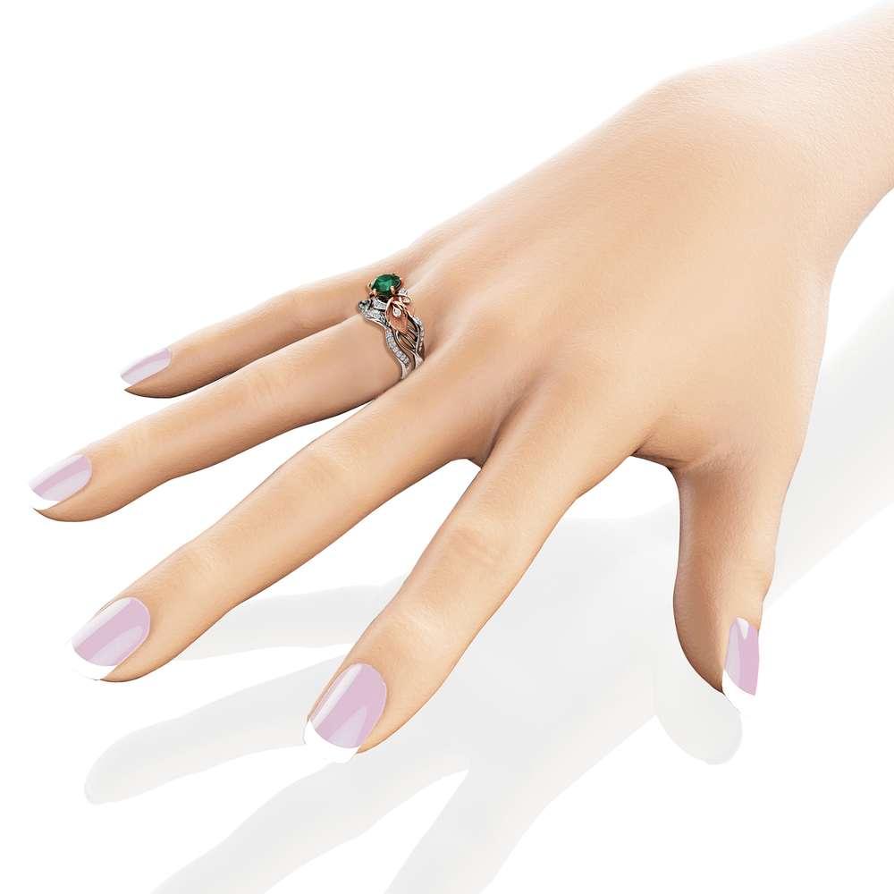 Floral Emerald Engagement Ring Set 14K Two Tone Gold Emerald Ring Calla Lily Engagement Rings Unique Gemstone Ring