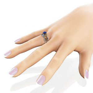 Calla Lily Sapphire Engagement Ring Set 14K Two Tone Gold Rings Sapphire Engagement Ring with Matching Band