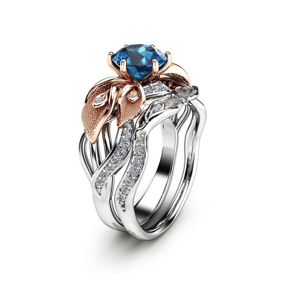Blue Topaz Engagement Ring 14K Gold Engagement Ring Set Calla Lily Rings Unique Engagement Ring