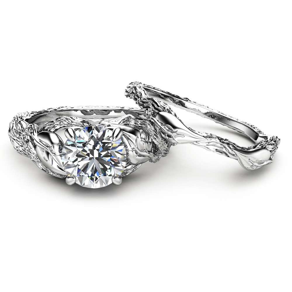 Nature Inspired Moissanite Engagement Ring Set 14K White Gold Engagement Rings Branch and Wedding Moissanite Rings